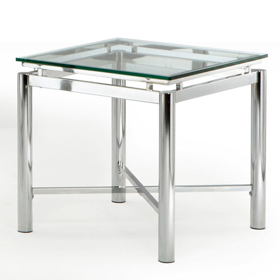 Steve Silver Nova End Table, Glass Top and Chrome Base