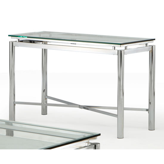 Steve Silver Nova Sofa Table, Glass Top and Chrome Base