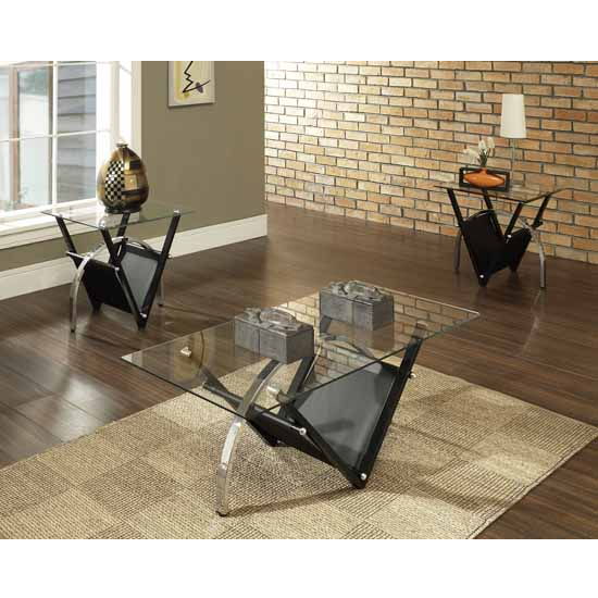 Steve Silver Tribecca Living Room Set with 2 End Tables & Cocktail Table, Glass Top and Metal Base