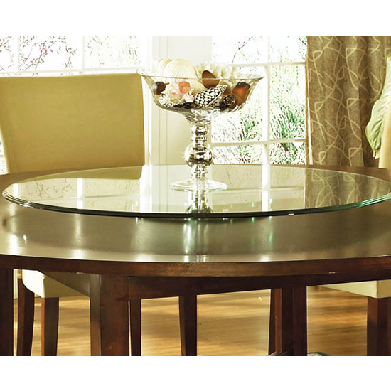 "Steve Silver Avenue Lazy Susan, 40"" Round, Triple Edge Glass"