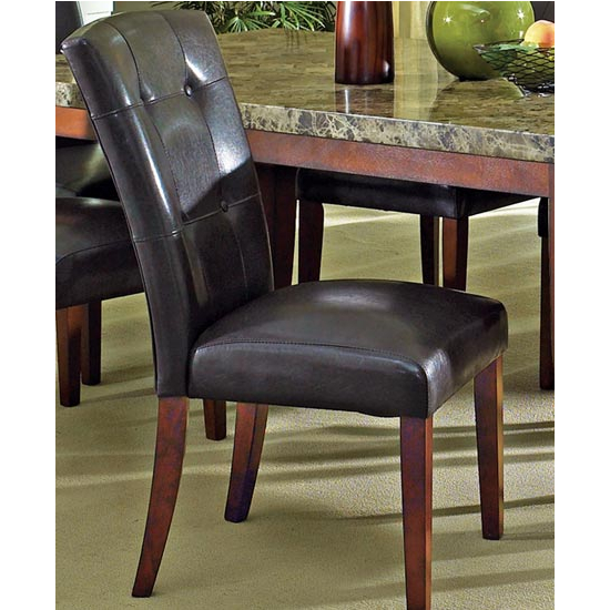 "Steve Silver Montibello Parsons Chair Set of 2, Dark Brown, 21""W x 29""D x 39""H, Cherry Finish"