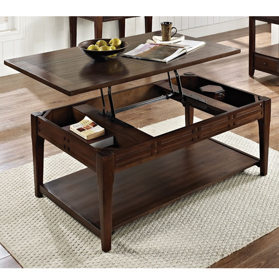 Crestline Portable Lift Top H Cocktail Table With Bottom Storage - Liftable table