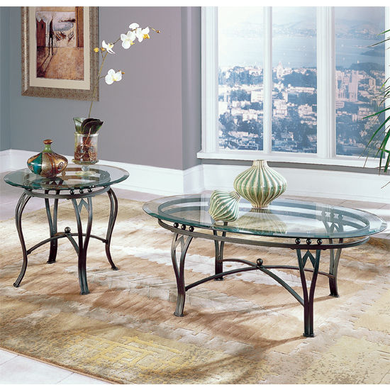 Steve Silver Madrid Living Room Set with End Table & Cocktail Table, Glass Top and Metal Base