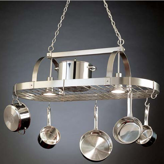 Lighted Pot Racks Hanging Pot Racks With Downlights By