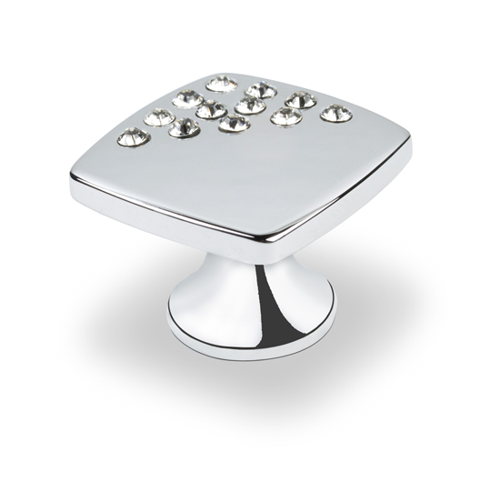 Topex Small Square Knob with Corner Crystals in Chrome