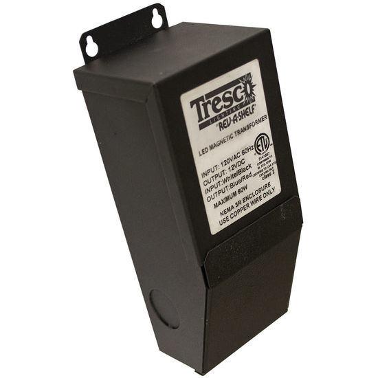 Tresco by Rev-A-Shelf 12VDC 60W Wall Dimmable Hardwire Transformer