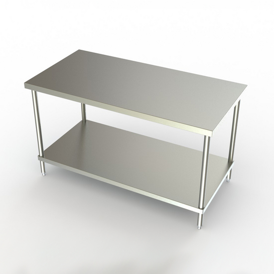 Aero Stainless Steel NSF Listed Flat Top Premium Work Table with S/S Undershelf