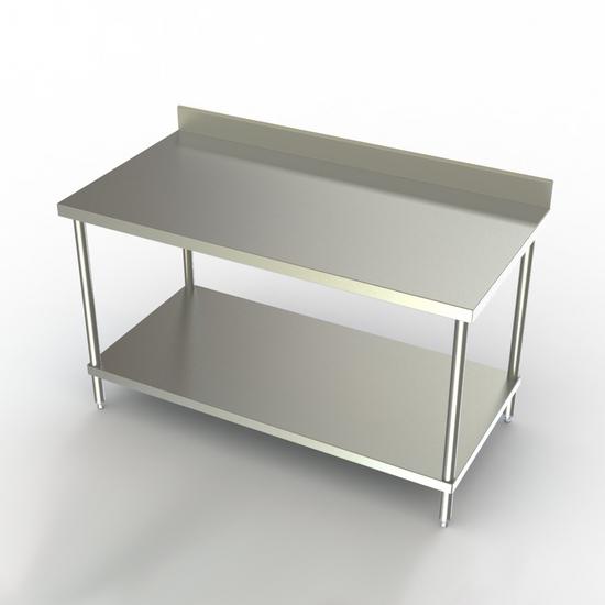 "Aero Stainless Steel NSF Listed Premium Work Table with 4"" Backsplash & S/S Undershelf"