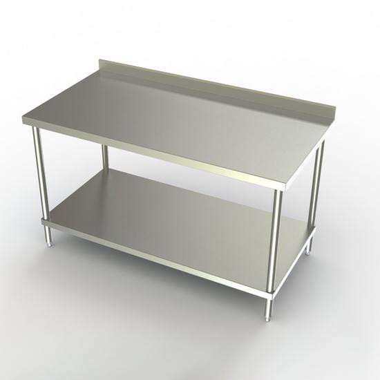 Work Tables Aero Stainless Steel NSF Listed Deluxe Work Table With - Stainless steel work table with backsplash