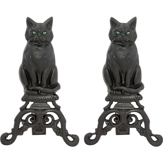 Cast Iron Cat Andirons w/Reflective Glass Eyes