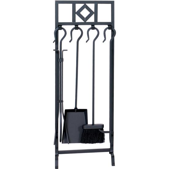 5 Piece Black Wrought Iron Fireset with Diamond Design