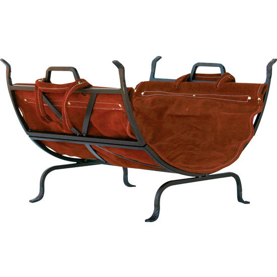 Olde World Iron Log Holder with<br> Suede Leather Carrier - 14-1/2 inch H