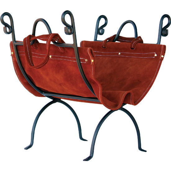 Log Holder with Suede Leather Carrier - 20 inch H