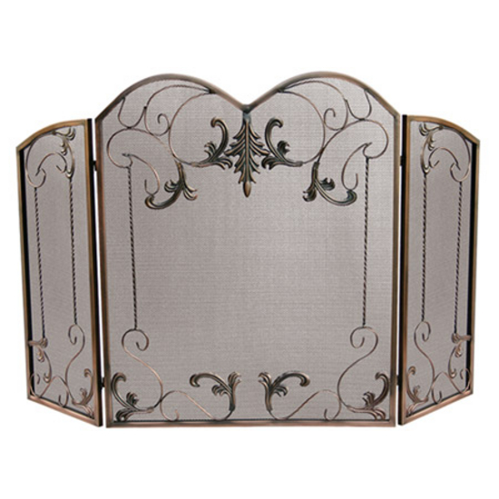 Venetian Bronze 3 Fold Screen w/Leaf Scrolls