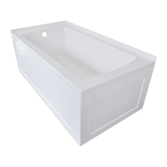 """Valley Acrylic OVO 60"""" W x 30"""" D White Acrylic Bathtub with Front and End Decorative Integral Skirt Left Hand Drain, 60"""" W x 30"""" D x 22"""" H"""