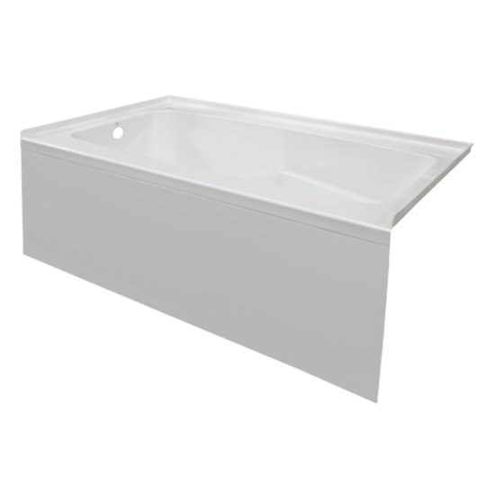 "Valley Acrylic STARK 60"" W x 30"" D White Acrylic Contemporary Bathtub with Smooth Integral Skirt Left Hand Drain, 60"" W x 30"" D x 22"" H"