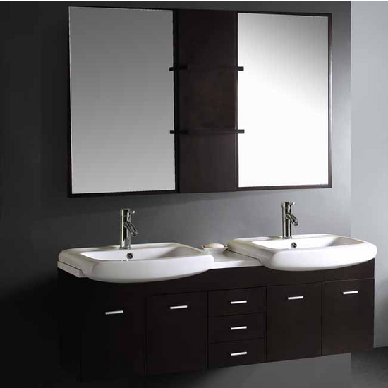 Vigo 59-inch Double Bathroom Vanity with Mirrors and Shelves, Wenge
