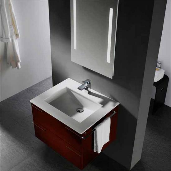 Vigo 31-inch Single Bathroom Vanity with Mirror and Lighting System, African Walnut