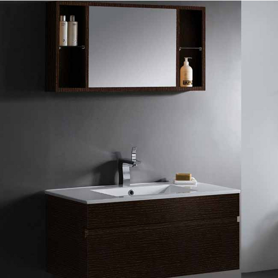 Vigo 35-inch Single Bathroom Vanity with Mirror and Shelves, Wenge