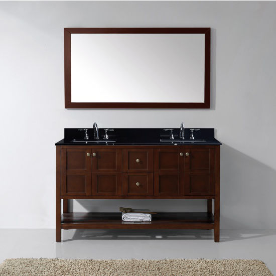 Cherry, Black Granite, Single Mirror- Front View