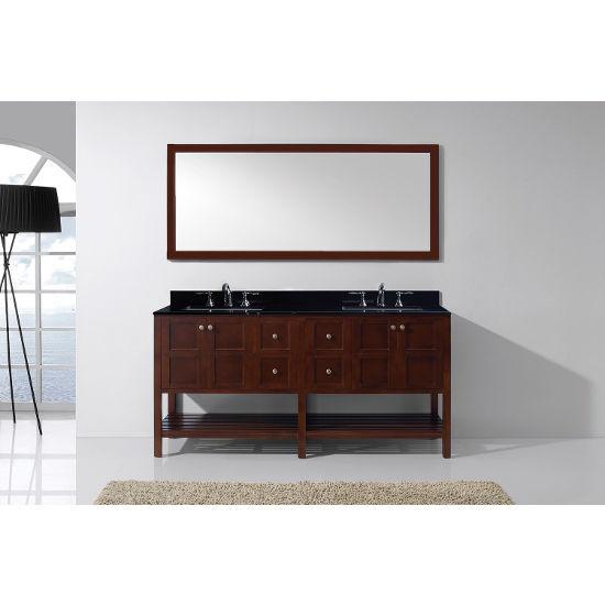Cherry, Black Granite, Single Mirror- Front View