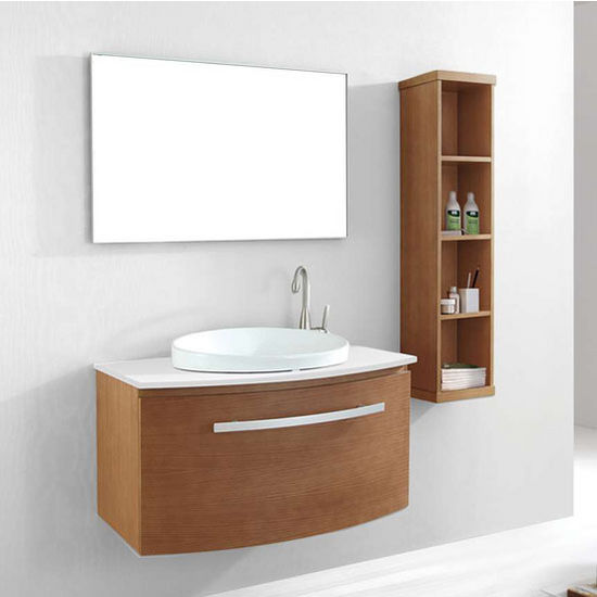 "Virtu 40"" Anabelle Single Sink Bathroom Vanity Set in Chestnut with Artificial White Stone (Includes Cabinet, Sink, & Mirror)"