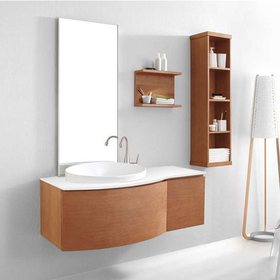 "Virtu 48"" Isabelle Single Sink Bathroom Vanity Set in Chestnut with Artificial White Stone (Includes Cabinet, Sink, & Mirror)"