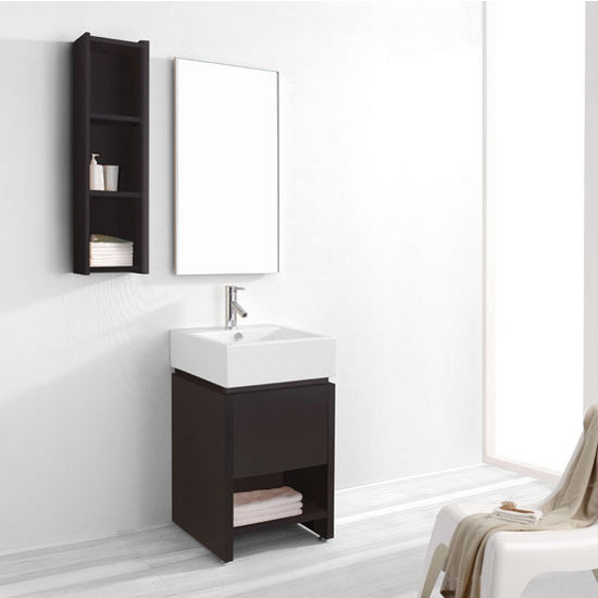 "Virtu 20"" Curtice Single Sink Bathroom Vanity Set in Espresso with Ceramic Sink Top (Includes Cabinet, Sink, & Mirror)"