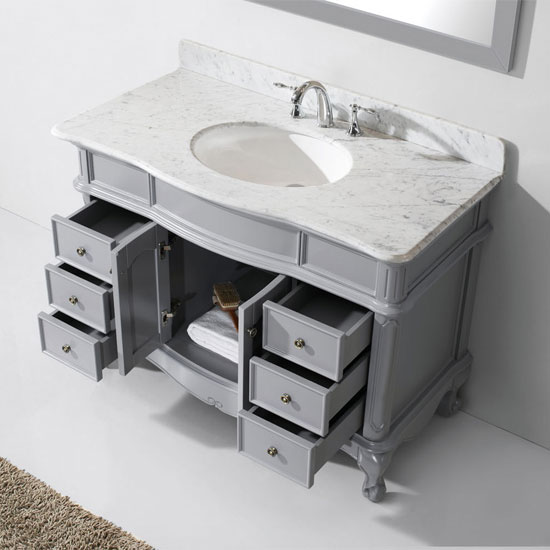 Virtu Usa Norhaven 48 Single Square Or Round Sink Bathroom Vanity Set With Italian Carrara Marble Top