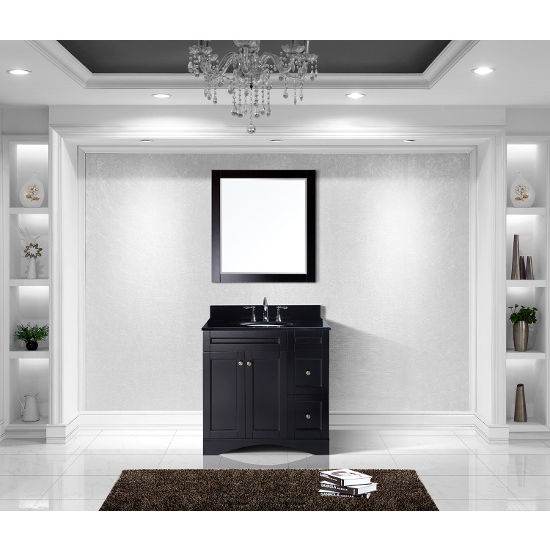 Espresso, Black Granite, Round Undermount, Single Mirror- Front View