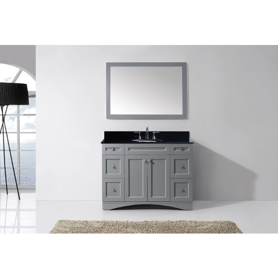 Grey, Black Granite, Round Undermount, Single Mirror- Front View