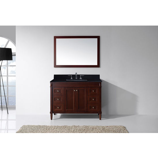Cherry, Black Granite, Square Undermount, Single Mirror- Front View