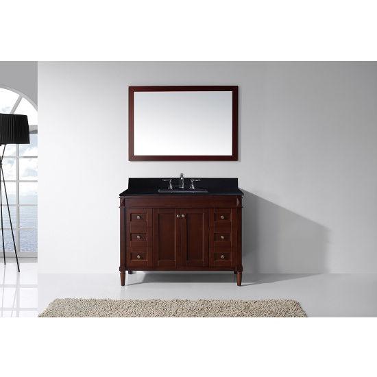Cherry, Black Granite, Square Undermount, Single Mirror- Front View