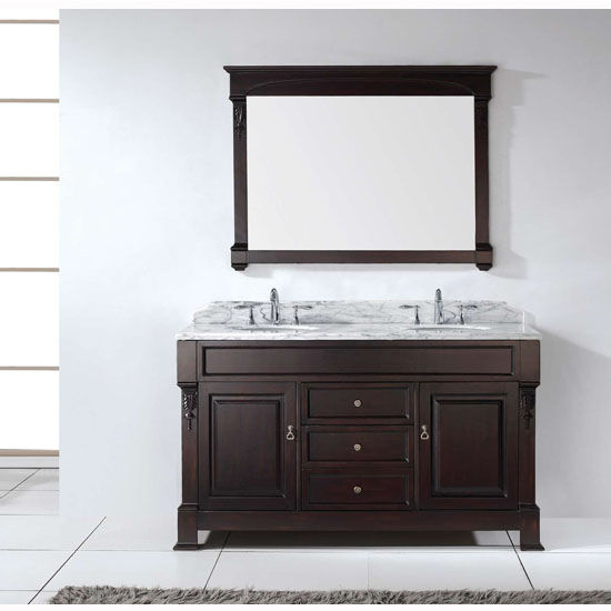 Dark Walnut W/ Round Sinks Vanity Set