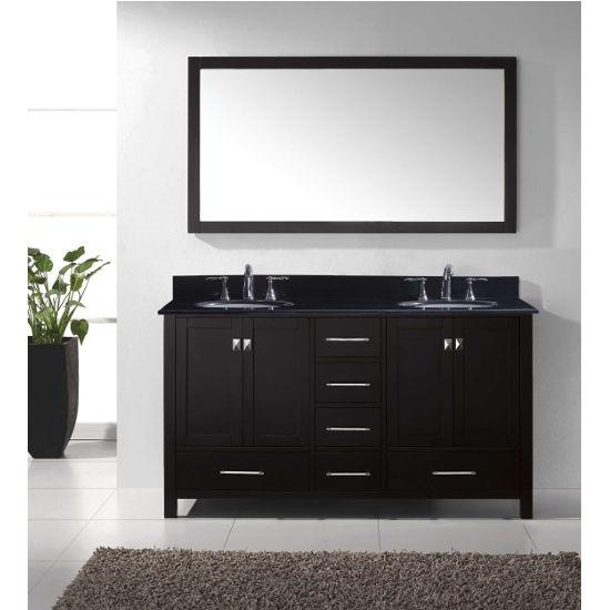 """Virtu USA Caroline Avenue 60"""" Double Bathroom Vanity Set"""