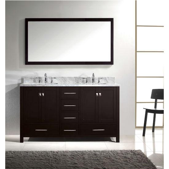 Caroline Avenue 60 39 39 Double Bathroom Vanity Set In Multiple Finishes With Italian Carrara Marble