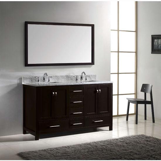 60 Caroline Avenue Double Sink Bathroom Vanity With Italian Carrara Marble Top By Virtu