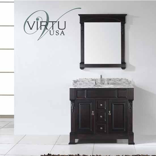 Virtu USA 40'' Huntshire Single Round Sink Bathroom Vanity Set, Dark Walnut, Italian Carrara White Marble Countertop, Brushed Nickel or Polished Chrome Faucet
