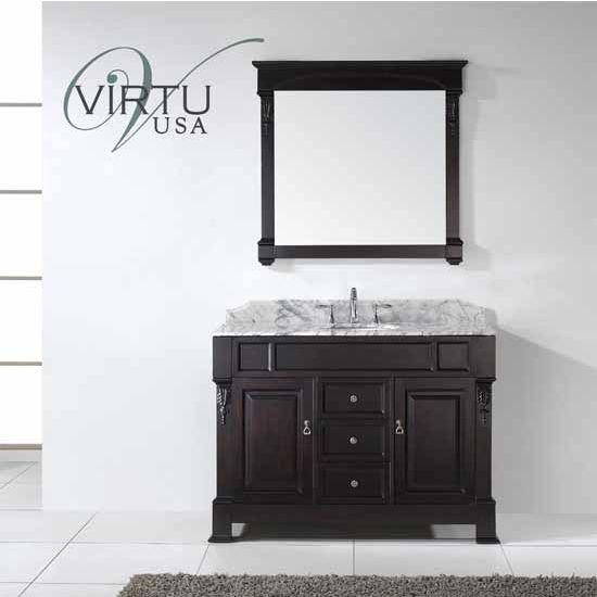Virtu USA 48'' Huntshire Single Round Sink Bathroom Vanity Set, Dark Walnut, Italian Carrara White Marble Countertop, Brushed Nickel or Polished Chrome Faucet