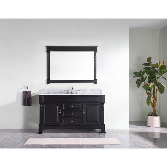 bathroom vanity in dark walnut or white includes cabinet sink