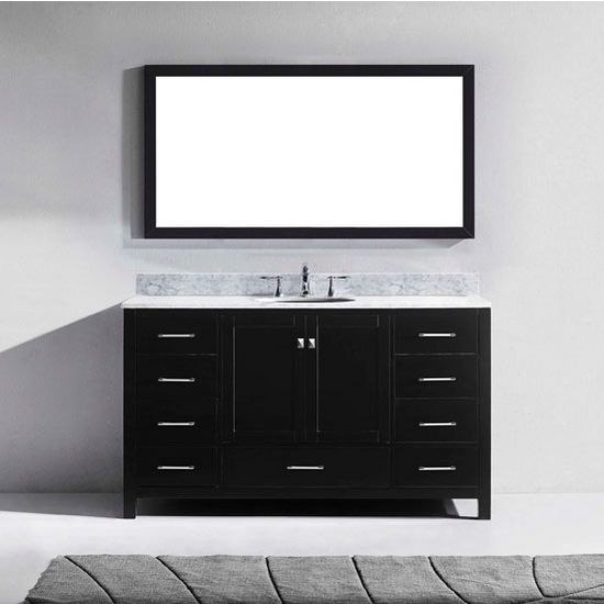 "Virtu USA Caroline Avenue Collection 60"" Freestanding Single Bathroom Vanity Set in Espresso (Set Includes: Main Cabinet, Italian Carrara White Countertop w/Backsplash, Undermount Round Sink and Wall Mirror)"