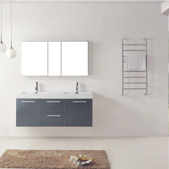 "Virtu USA Midori Collection 54"" Wall Mounted Double Bathroom Vanity Set in Grey (Set Includes: Main Cabinet, Double Square Sink Top and (2) Polished Chrome Faucets)"