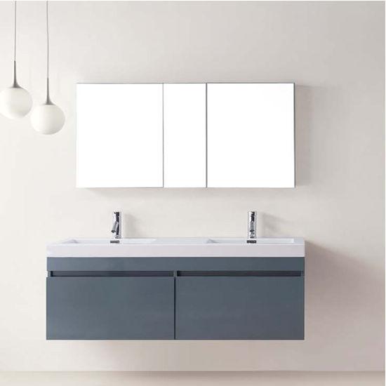 "Virtu 55"" Zuri Double Sink Bathroom Vanity in Grey with Polymarble (Includes Cabinet, Sink, & Faucet)"