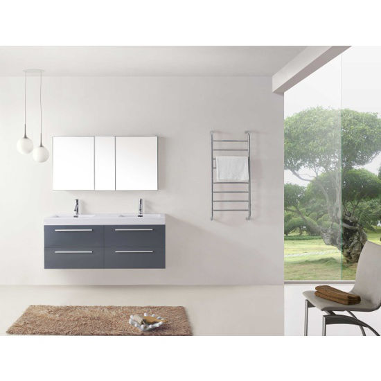 Grey, Integrated Sink with Single Hole Polished Chrome Faucet- Front View