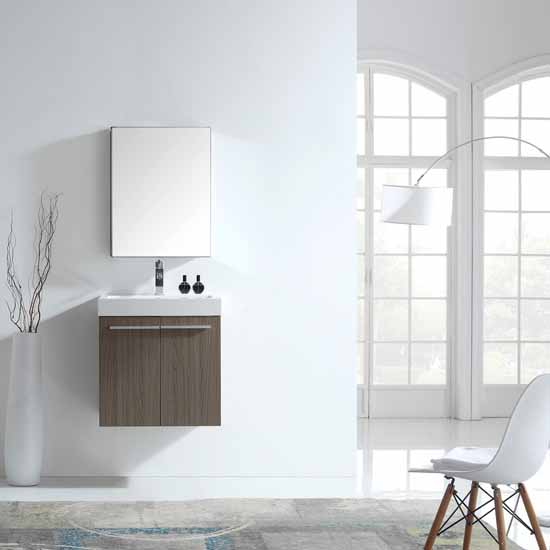 Virtu USA  Midori 24'' Wall Mounted Single Bathroom Vanity Set in Grey Oak, White Polymarble Top with Integrated Square Sink, Faucet Available in 2 Finishes