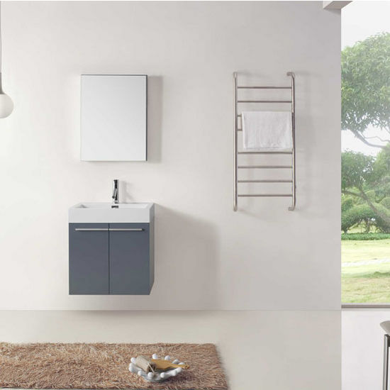 """Virtu USA Midori Collection 24"""" Wall Mounted Single Bathroom Vanity Set in Grey (Set Includes: Main Cabinet, Single Square Sink Top, Medicine Cabinet and Polished Chrome Faucet)"""