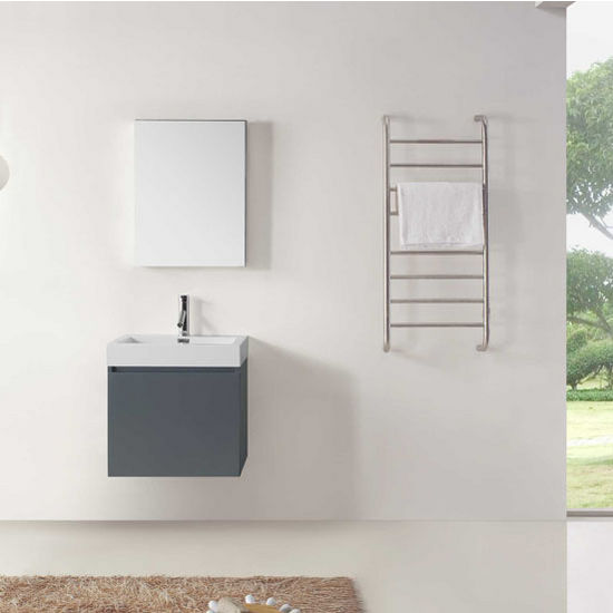 "Virtu USA Zuri Collection 24"" Wall Mounted Single Bathroom Vanity Set in Grey (Set Includes: Main Cabinet, Square Sink Top, Medicine Cabinet and Polished Chrome Faucet)"