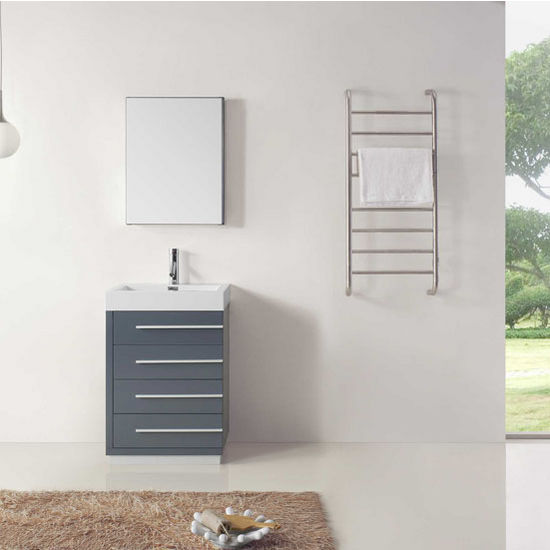 """Virtu USA Bailey Collection 24"""" Freestanding Single Bathroom Vanity Set in Grey (Set Includes: Main Cabinet, Square Sink Top, Medicine Cabinet and Polished Chrome Faucet)"""