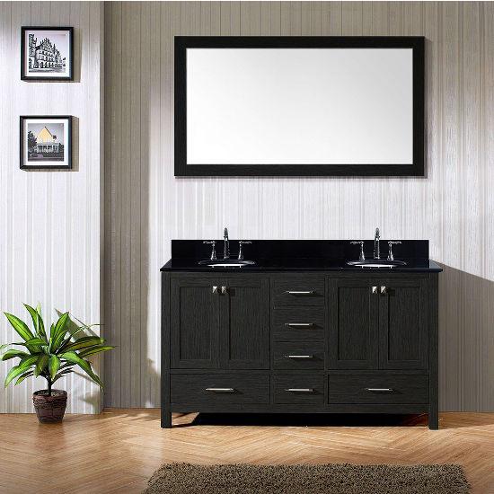 Black Granite, Round Undermount, Single Mirror- Front View