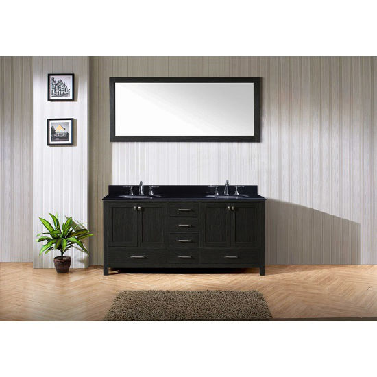 Black Granite, Round Undermount, Single Mirror- Front View